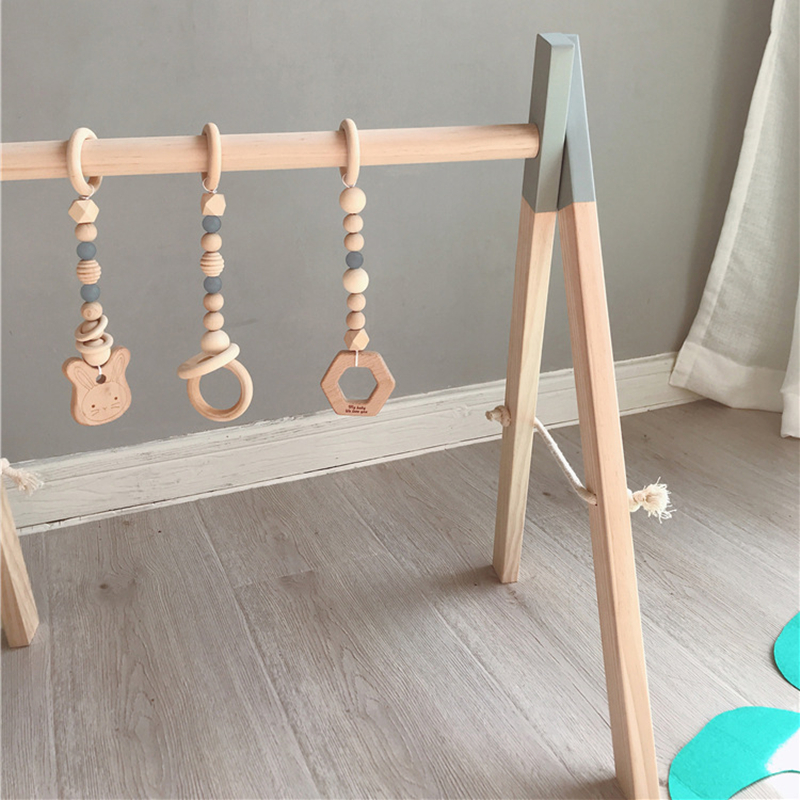 Baby Activity Gym Play Nursery Sensory Ring-pull Toy Wooden Frame Infant Room Toddler Clothes Rack Gift Kids Room Decor | Happy Baby Mama