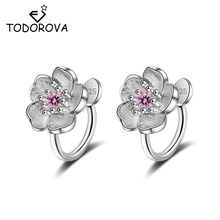 Todorova Korea Style Crystal Cherry Blossom Flower Clip on Earrings Without Piercing for Girls Party Sweet No Hole Ear Clip(China)
