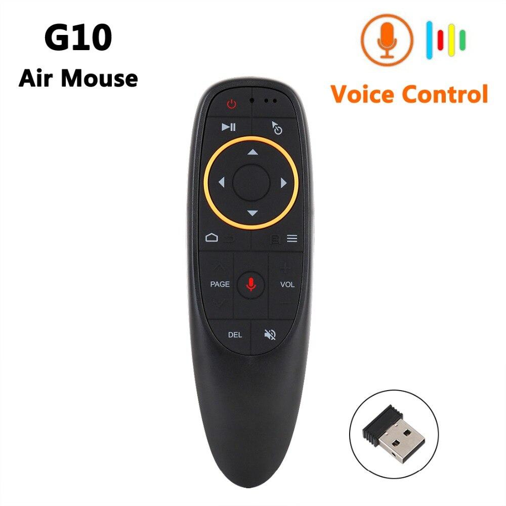 G10 Control de voz inalámbrico Air Mouse 2,4g RF, Sensor de giro inteligente de Control remoto con micrófono para X96 TX3 Android TV Box Mini PC