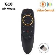 G10 de voz inteligente Control remoto 2,4G RF giroscopio Air Mouse inalámbrico con micrófono para X96 mini H96 MAX T95Q TX6 Android TV Box