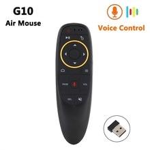 G10 Smart Voice Télécommande 2.4G RF Gyroscope Sans Fil Air Mouse avec Microphone pour X96 mini H96 MAX T95Q TX6 Android TV Box