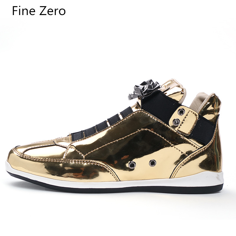 2020 Spring Autumn High Top Boots For Men PU Leather Gold Silver Color Motorcycle  Sneakers Student Youth Flats