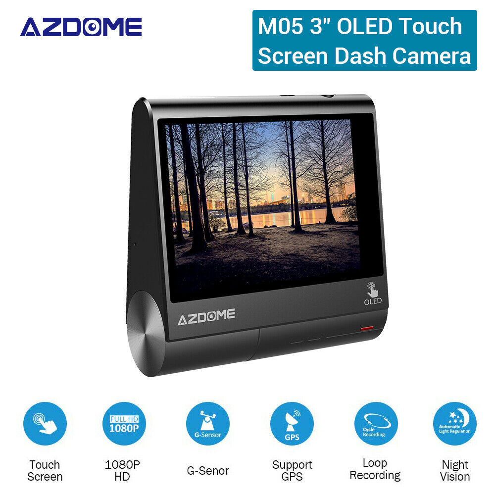AZDOME M05 3 Inch OLED 1080P 30FPS GPS Car Dash Cam DVR Recorder Loop Recording