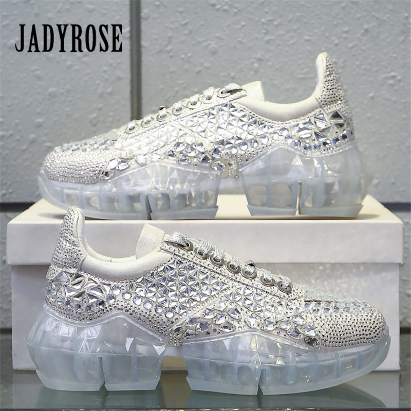 Jady Rose Women Sneakers Transparent Sole Platform Creepers Lace Up Flat Shoes Woman Rhinestone Ladies Espadrilles