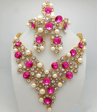 African  Gold-color Crystal Bead Jewellery Set