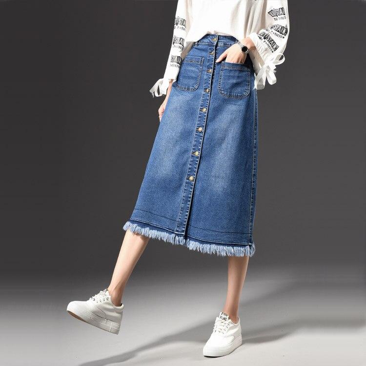 202 new Europe United States explosion models large tassels flashing denim skirt female half body length a word skirts