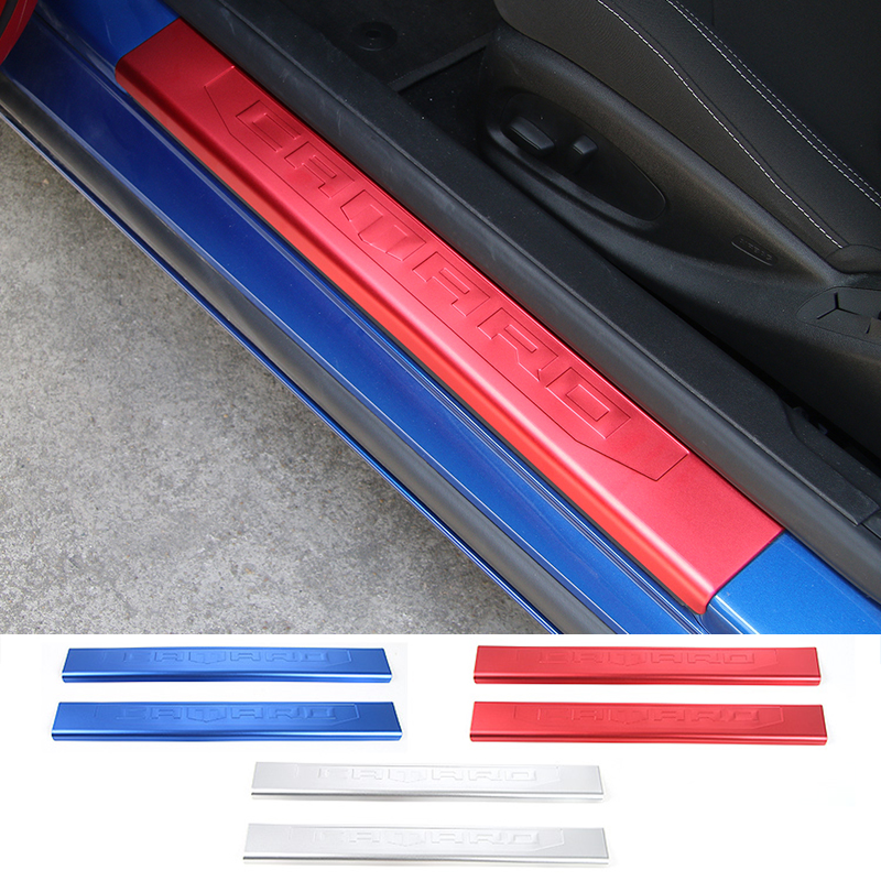 SHINEKA Car Styling Door Sill Plate Exterior Entry Guard Welcome Panel Bar For Chevrolet Camaro 2017+