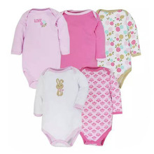 Mother nest 5 PCS 100% Cotton Body Long Sleeve Infant