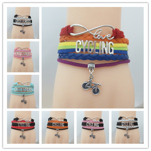 Fashion Infinity Love Cycling Bracelet With Bike Charm Leather Wrap Bicycle Sports Team Friendship Gift In Bracelets From Jewelry