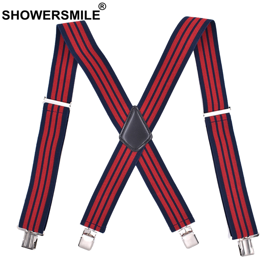 SHOWERSMILE Red Stripe Suspenders Wide 5cm Braces Suspender For Men 4 Clips X Back Elastic Business Male Shirt Suspenders 120cm