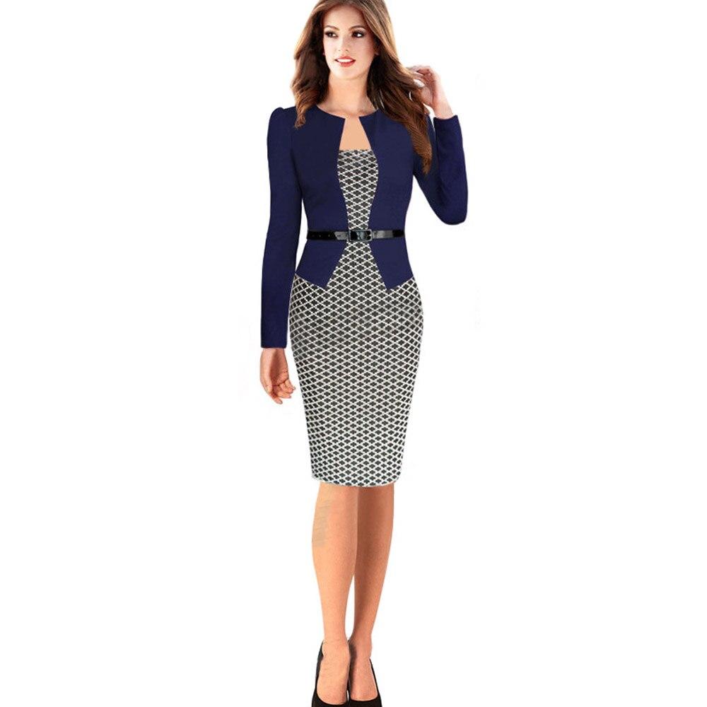 45f5835163a3 € 14.66 16% de DESCUENTO|Nueva moda 2016 mujeres Formal Bodycon vestido  elegante Plaid manga larga lápiz vestidos de oficina ropa de trabajo de las  ...