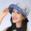 Mujeres plegable grande ancho de ala arco casquillo del nuevo verano de la correa del resorte sol del arco floppy cloche bowler hat