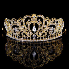 Hot Sale Luxury Gold Sliver color Crystal Bridal Crown Woman Tiaras Hair Jewelry Bride Wedding Hair Accessories