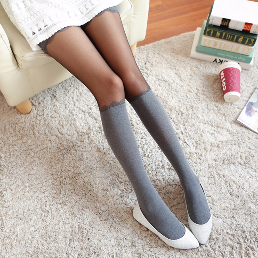 Gray False High Stocking Pantyhose Sexy Women Chiffon Transparent Tights For Female Brand New Spring Autumn