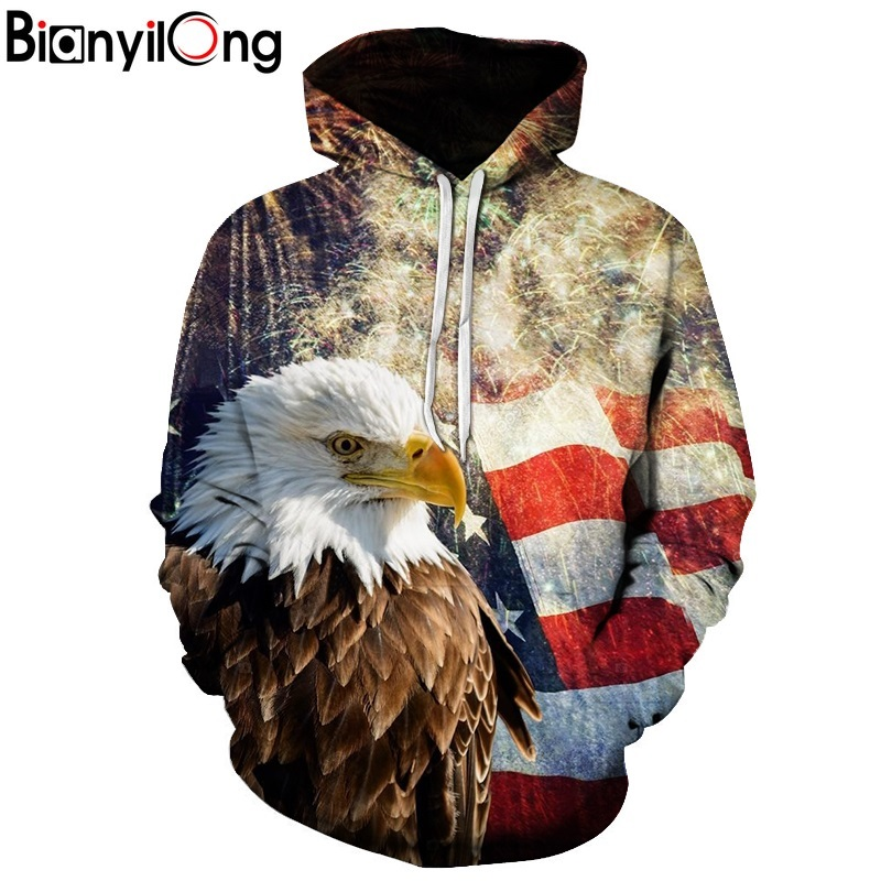 BIANYILON GEagle Print3D Hoodies Men Sweatshirt Fashion American Flag Hooded Sweats Tops Hip Hop Unisex Pullover Sudadera Hombre