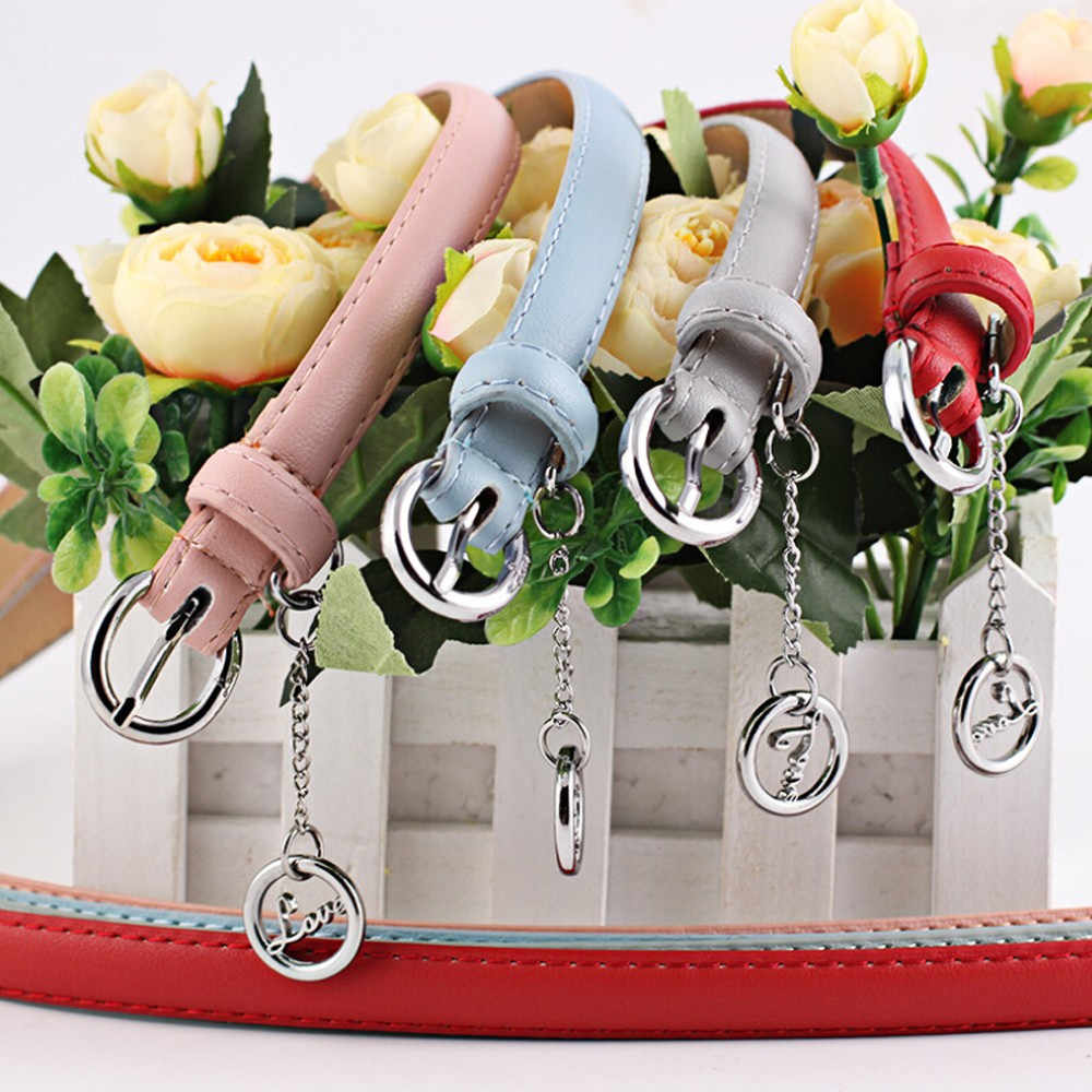 Cinturón para mujeres niñas moda Vintage Accessorie letra colgante cinturón Casual cinturas elásticas finas 2019 Jeans vestido Accesorios