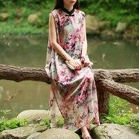 LZJN Folk Style Tank Dress Women Summer Sundress Rayon Floral Dresses Sleeveless Cheongsam Elegant Chinese Clothing Robe Femme