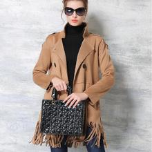 Spring 2016New Europe American High-end Women Clothing Faux Suede Trench Coat Medium Long Coat Fashion Tassel Coat Plus Size 458