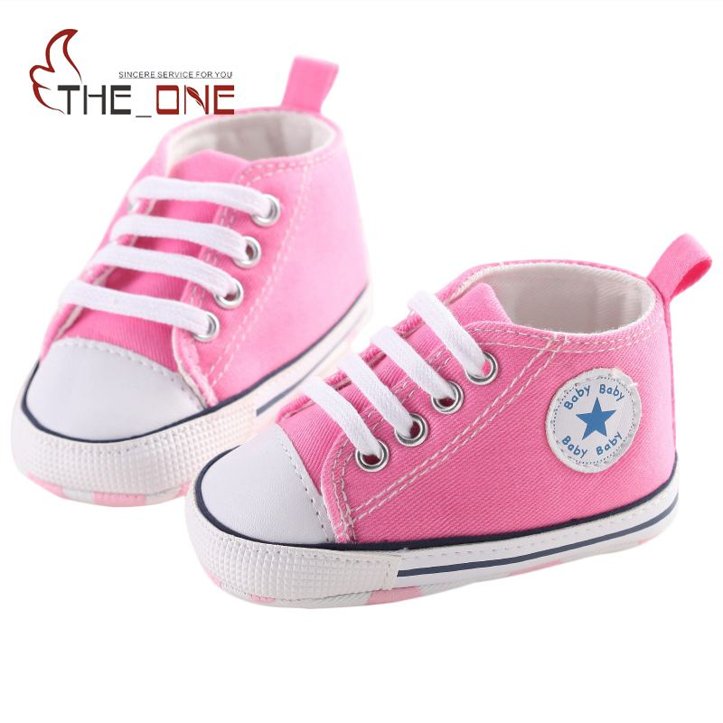 MUABABY Summer Baby Shoes Toddler Boys Girls First Walker Canvas Soft Sole Infant Shoes Kids Newborn Stars Lace Up Baby Sneakers