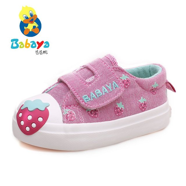 2017 casual Autumn new strawberry prints casual soft canvas baby infantile girls first walkers toddle children sneakers shoes