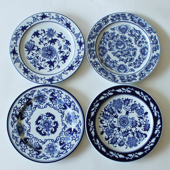 1 piece chinese antique porcelain blue and white plates for Wall decor dishes