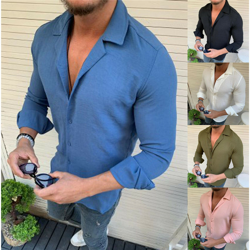 2019 New Men Summer Casual Linen Shirts Solid Plain Long Sleeve Slim Fitness Shirts Top Blouse Man Male Fashion Breathable Shirt