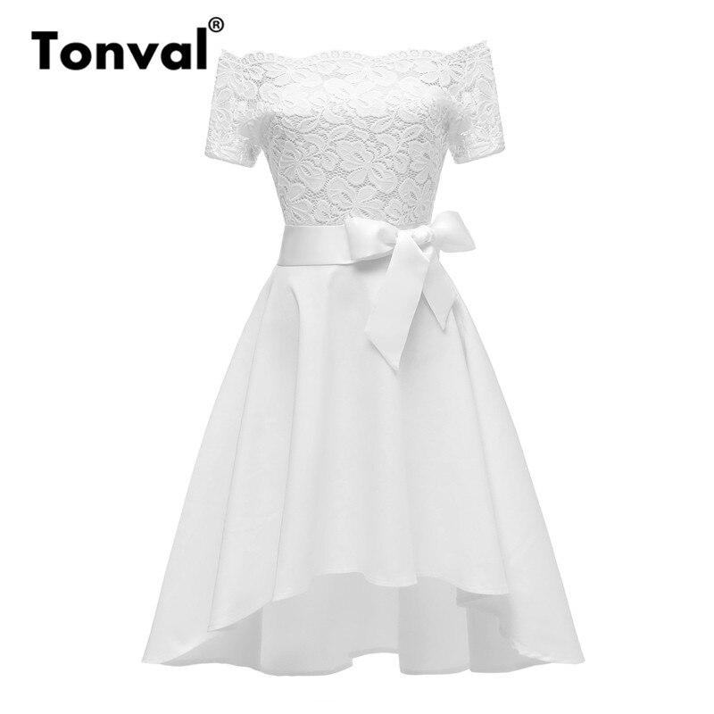Tonval White Elegant Dress Floral Lace Vintage Women High Low Hem Formal Party Dress Belt Bow Off Shoulder Dress