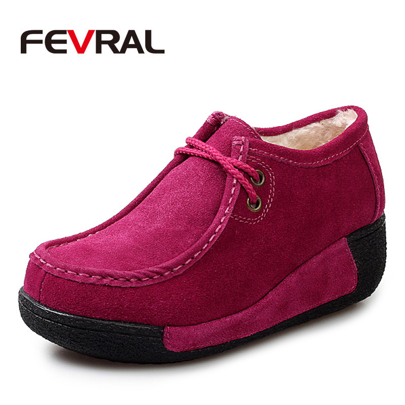 FEVRAL 2019 Winter Woman Warm Flats Platform Sneakers Shoes Woman Casual Shoes   Leather     Suede   Lace Up Woman Shoes Size 35-41