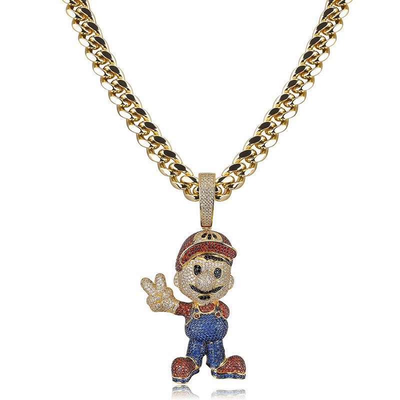 Lucky Sonny Hip Hop Bling Cartoon Pendant Gold Silver Color Cuban Chain Pendant & Necklace CZ  Iced Out Party Jewelry AccessoryLucky Sonny Hip Hop Bling Cartoon Pendant Gold Silver Color Cuban Chain Pendant & Necklace CZ  Iced Out Party Jewelry Accessory
