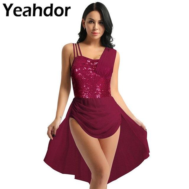 נשים מבוגרים שיפון בלט שמלת ספגטי רצועות שרוולים פאייטים סדיר מודרני ריקוד בלט התעמלות בגד גוף שמלה