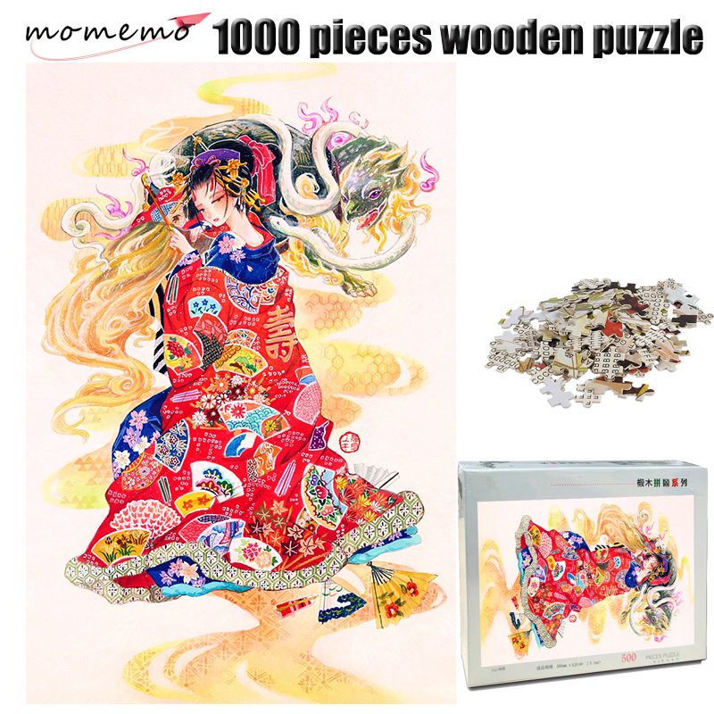 MOMEMO Tortoise and Girl 1000 Pieces Jigsaw Puzzle Adult Wooden Puzzle Color Hand Painted Chinese Style Puzzle 1000 Piece Puzzle