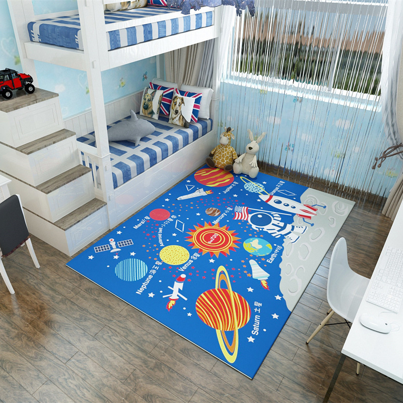 Cartoon style children carpet Baby crawling mat Children's room bedroom carpet Living room sofa floormat non-slip rug customize