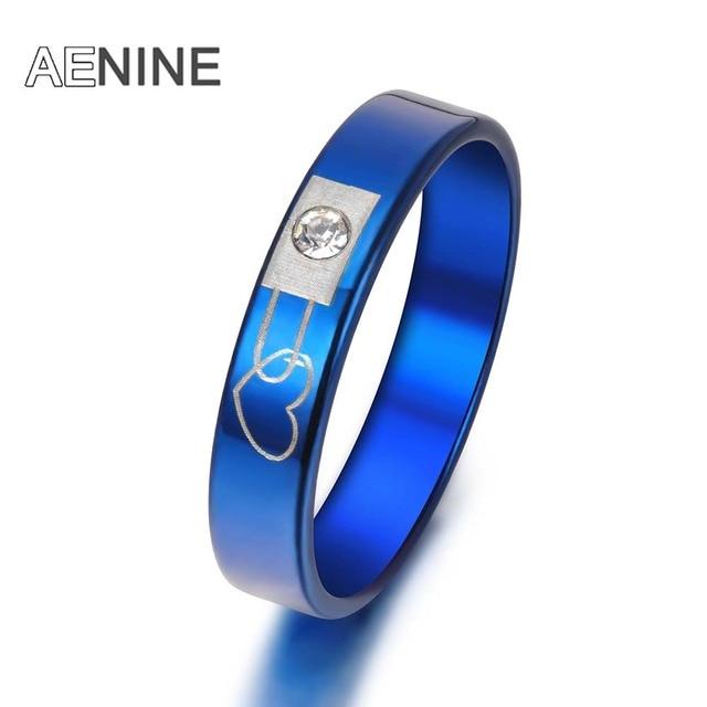AENINE Romantic Blue/Black Stainless Steel Forever Love Crystal Rings For Women