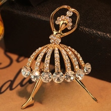 Cute Gold Crystal Dancing Girl Brooches for Women Rhinestone Ballet Pin Female Costume Jewelry Girls Gift