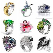 Free Fan Luxury Rhinestone Hip Hop Jewelry Rings Fashion Men Frog Spider Dragon Skull Gothic Rings For Women Punk Finger Rings(China)