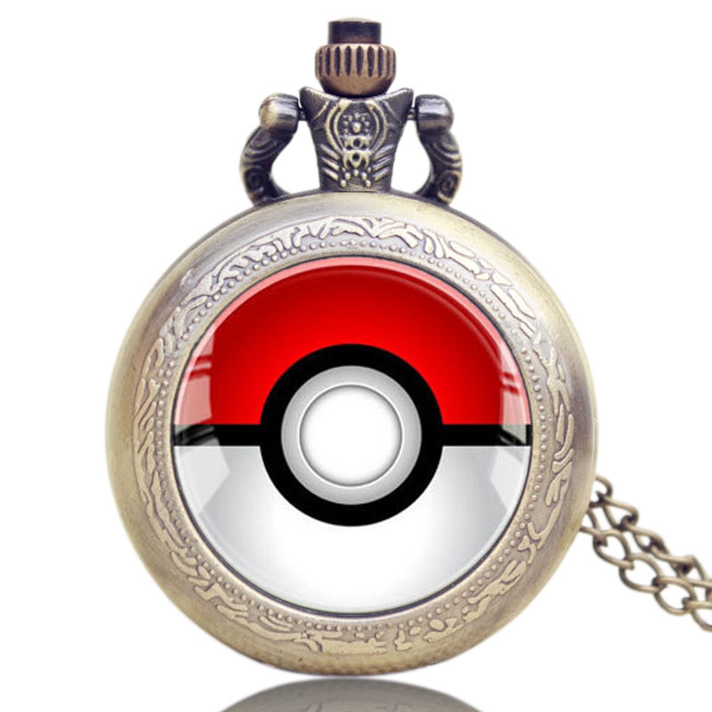 Vintage Pocket Watch Monster Anime Pokeball Bronze Pokemon Go Fob Watches Women For MenGifts Pocket Watch Chains