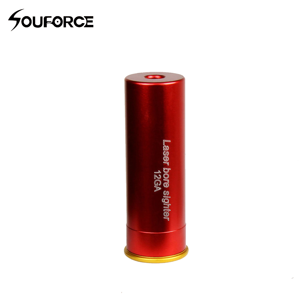 High Quality Aluminum CAL:12 GA Cartridge Laser Bore Sight Red Dot Bore Sight Red Copper 12GA  Include Battery