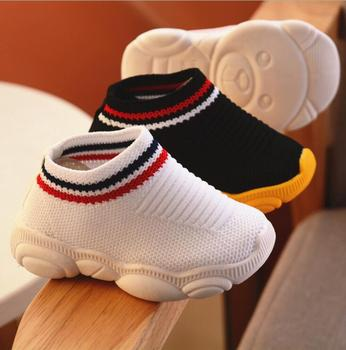 2019 new spring bear shoes female baby soft bottom socks stripe boy sleeve toddler shoes