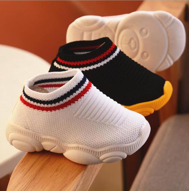 2019 new spring bear shoes female baby soft bottom socks stripe boy sleeve toddler shoes
