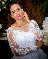 Vestido De Noiva Princesa Ball Gown Long Sleeve Wedding Dresses Lace Appliqued Wedding Gowns Vestido De