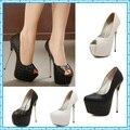 white wedding shoes 16cm ultr High Heels party shoes Pumps Stilettos heels  Platform Peep Toe pumps cd40b552f9a8