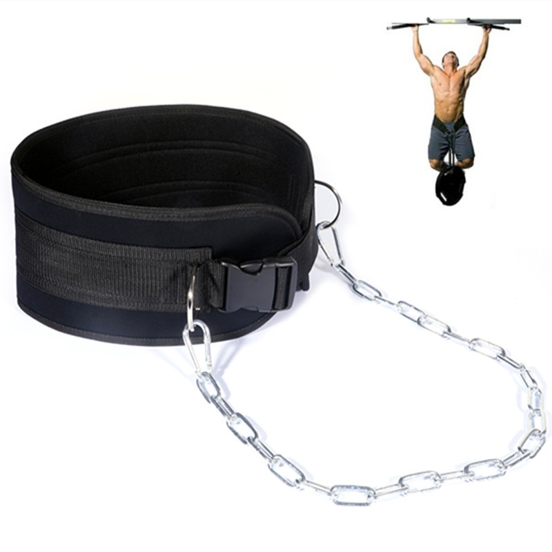 Dip Belt With Chain Gym Belt For Weightlifting Pull-up Squat Back Muscle Training Crossfit Bodybuilding Waist Support Protector