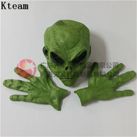 2019 New Halloween Realistic Green UFO Alien Face Head Mask Creepy Costume Party Cosplay Scary zombie mask with gloves devil toy