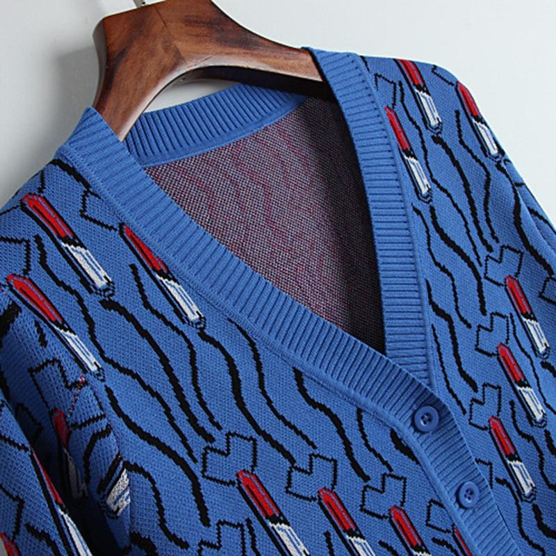 Venta La Invierno Casual cuello Calidad Otoño Las Cómodo Cardigans Caliente De Capa 2018 Para V Outwear azul Negro Tops8214 Mujeres Nueva Alta Punto tawqn5H