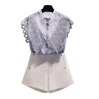 2018 summer new blue lace women blouse ruffles hollow out sexy slim shirts office lady elegant outwear tops