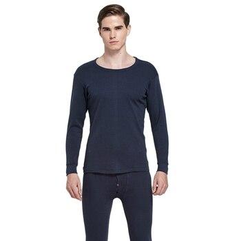 33d4fef12 Nueva llegada del invierno ropa interior térmica hombres manga larga  caliente fija la manera sólida suave otoño Casual Camisa + Pantalones negro  ...