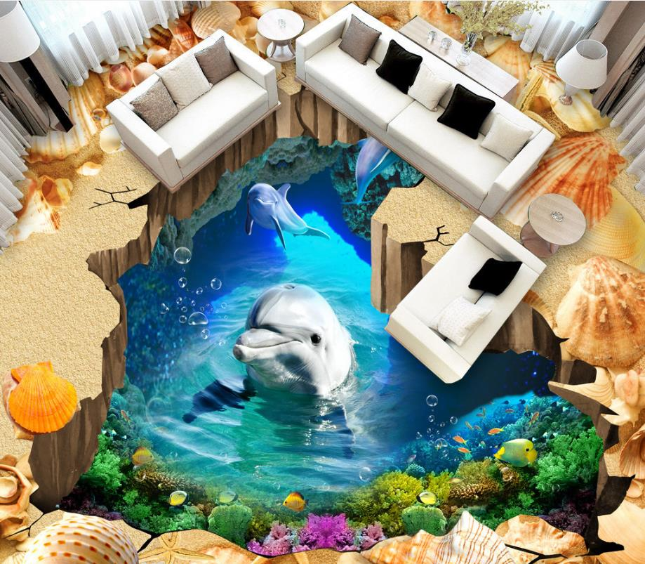 Photo Wall Mural Custom Beach cave dolphins 3d Flooring Wallpaper For Kids Room 3d Floor Tiles Stereoscopic 3d Home improvement free shipping river stone waterfalls 3d floor tiles wear non slip moisture proof bedroom living room kitchen flooring mural