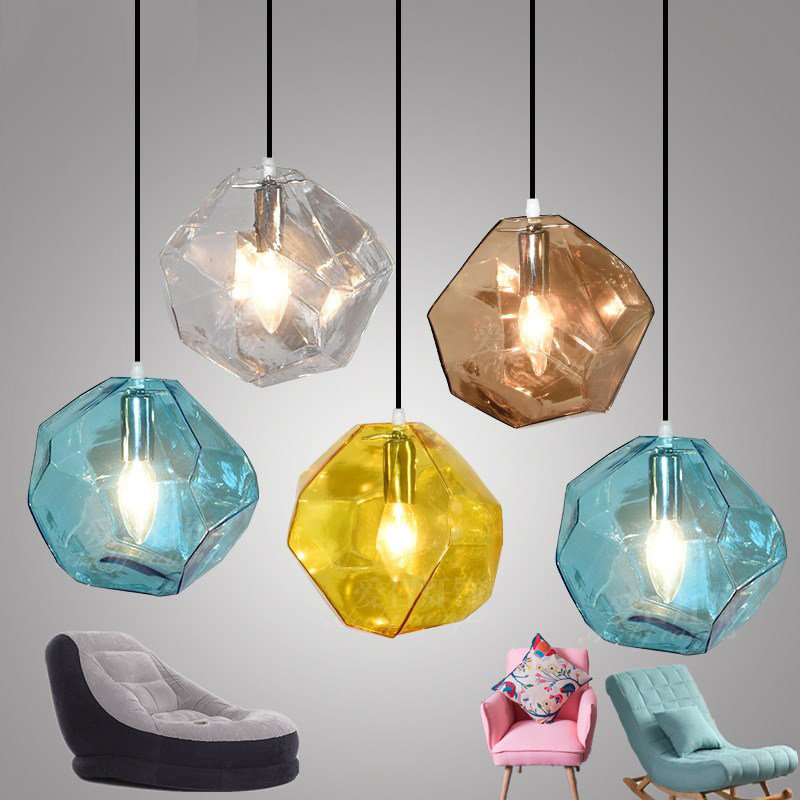 Creative Restaurant Kitchen Pendants Lights American Modern Hanging Lamp Color Glass Pendant Lamps Bedroom Bar led Hanging Light modern creative new vintage clear glass pendant lights copper hanging lamps for bar restaurant retractable wall lamp led bulbs