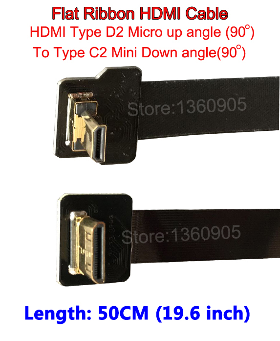 Black 50CM 19.6'' Flat Ribbon Cable HDMI Flexible FPV Micro D2 Male Up angle 90 to Mini Type C2 Male Down Angle 90 degree 30cm thin hdmi ribbon flat cable straight type a male to male type c2 mini up angle 90 degree super flexible cable fpv 11 8inch