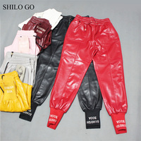 SHILO GO Leather Pants Womens Spring Fashion sheepskin genuine leather pants tie stretch high waist causal colors harem pants